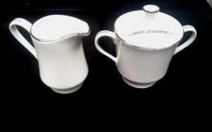 China & Dinnerware - Platinum Trim Sugar and Creamer Rental