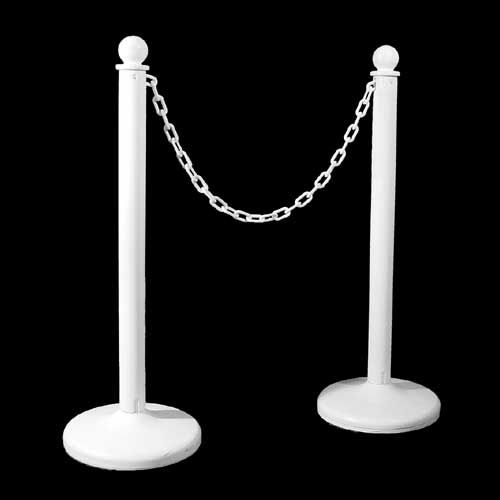 Showers & Wedding - Stanchion, White Plastic Rental