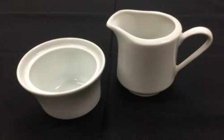 China & Dinnerware - Cafe White Sugar & Creamer Set Rental