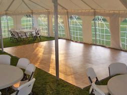 Images of Dance Floor, 18' x 20' Vinyl Wood Grain Rentals, Party & Tent Rentals of Morris County, Northern NJ