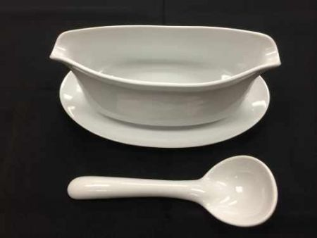 China & Dinnerware - Cafe White Gravy Boat with Ladle Rental